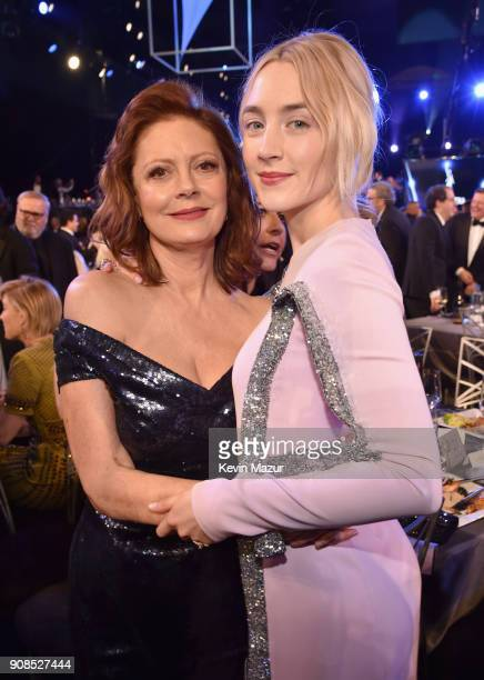 Actors Susan Sarandon and Saoirse Ronan pose during the 24th Annual Screen Actors Guild Awards at The Shrine Auditorium on January 21 2018 in Los...
