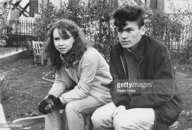 Actors Susan Tully and David Scarboro on the set of the television soap opera 'EastEnders' November 21st 1984