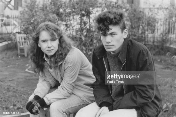 Actors Susan Tully and David Scarboro on the set of the television soap opera 'EastEnders' November 1984