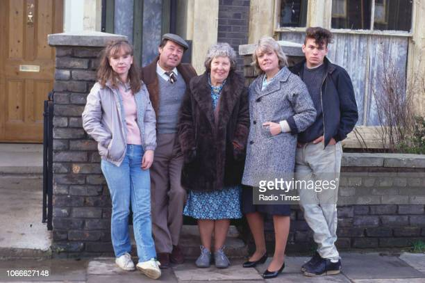 Actors Susan Tully Bill Treacher Anna Wing Wendy Richard and David Scarboro pictured on the exterior set of the BBC soap opera 'EastEnders' November...