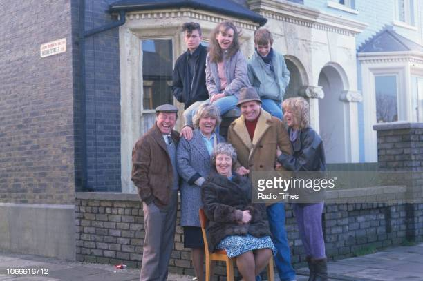 Actors Susan Tully David Scarboro and Adam Woodyatt with Bill Treacher Wendy Richard Anna Wing Gillian Taylforth and Peter Dean pictured on the...