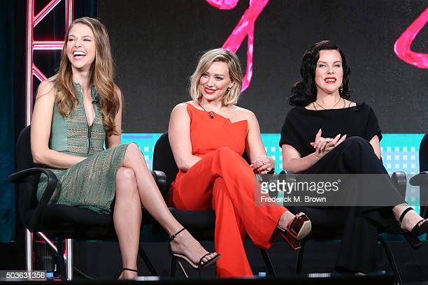 Actors Sutton Foster Hilary Duff and Debi Mazar speaks onstage during the TV LAND Younger panel as part of the Viacom portion of This is Cable 2016...