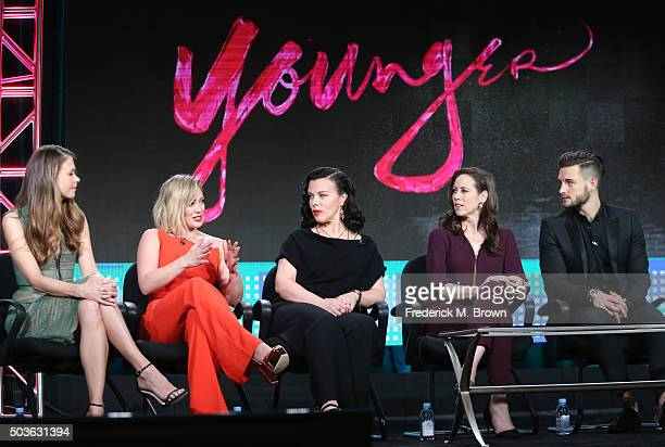 Actors Sutton Foster Hilary Duff Debi Mazar Miriam Shor and Nico Tortorella speak onstage during the TV LAND Younger panel as part of the Viacom...