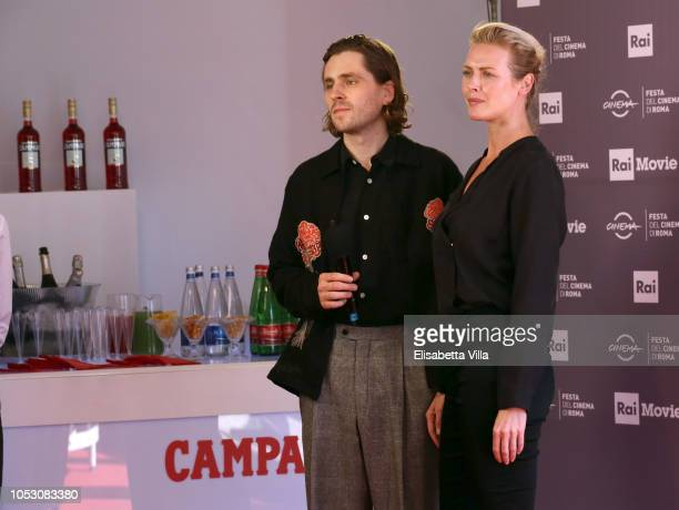 Actors Sverrir Gudnason and Synnove Macody Lund of the movie 'The Girl In The Spider's Web' is seen at the Campari Lounge during the 13th Rome Film...