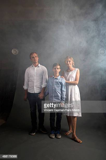 Actors Swann Nambotin and Anne Consigny with the film director and scriptwriter Fabrice Gobert of Les Revenants are photographed for Paris Match on...