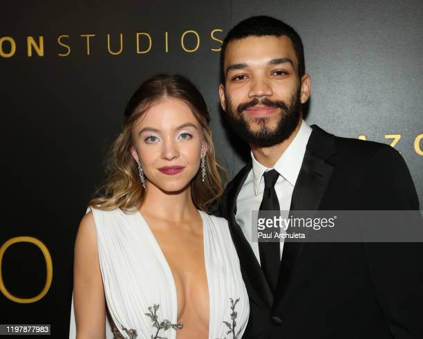 Actors Sydney Sweeney and Justice Smith attend Amazon Studios Golden Globes after party at The Beverly Hilton Hotel on January 05, 2020 in Beverly...