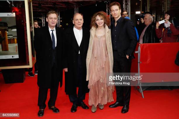 Actors Sylvester Groth Bruno Ganz Evgenia Dodina Alexander Fehlin attend the 'In Times of Fading Light' premiere during the 67th Berlinale...