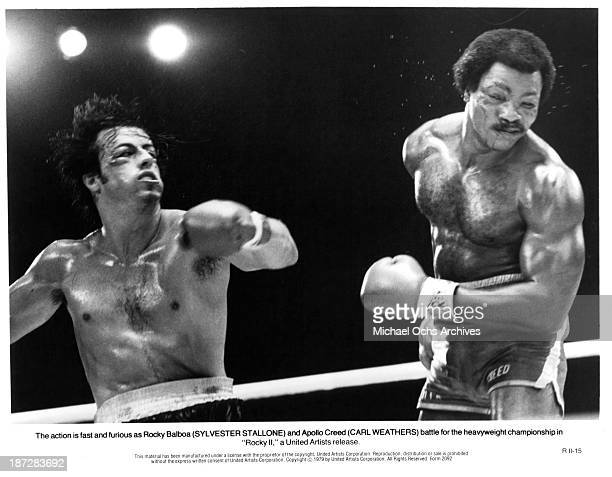 Actors Sylvester Stallone and Carl Weathers on set of the United Artist movie 'Rocky II' in 1979