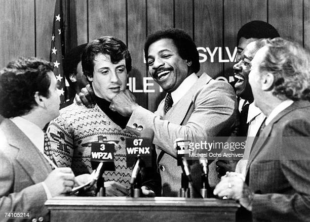 Actors Sylvester Stallone and Carl Weathers perform scene in movie 'Rocky' directed by John G Avildsen 'Rocky' won 3 Academy Awards