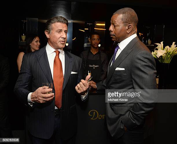Actors Sylvester Stallone and Carl Weathers visit the Dom Perignon Lounge at The Santa Barbara International Film Festival on February 9 2016 in...