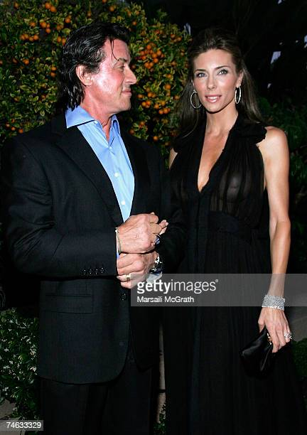 Actors Sylvester Stallone and Jennifer Flavin attend the YSL pool party at theThe Beverly Hills Hotel on June 14 2007 in Beverly Hills California