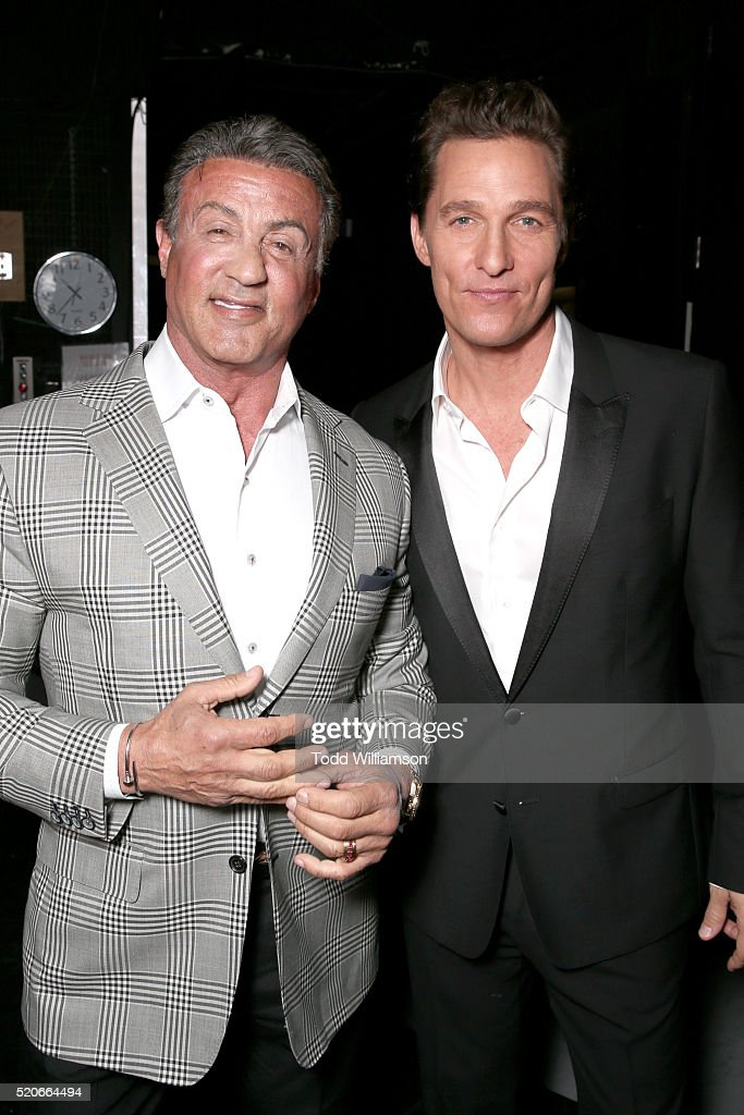 Actors Sylvester Stallone and Matthew McConaughey attend CinemaCon 2016 The State of the Industry: Past, Present and Future and STX Entertainment Presentation at The Colosseum at Caesars Palace during CinemaCon, the official convention of the National Association of Theatre Owners, on April, 12, 2016 in Las Vegas, Nevada.
