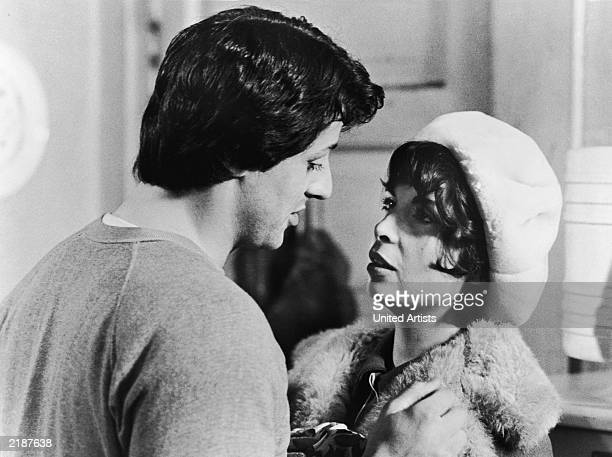 Actors Sylvester Stallone and Talia Shire in a still from 'Rocky' directed by John G Avildsen 1976