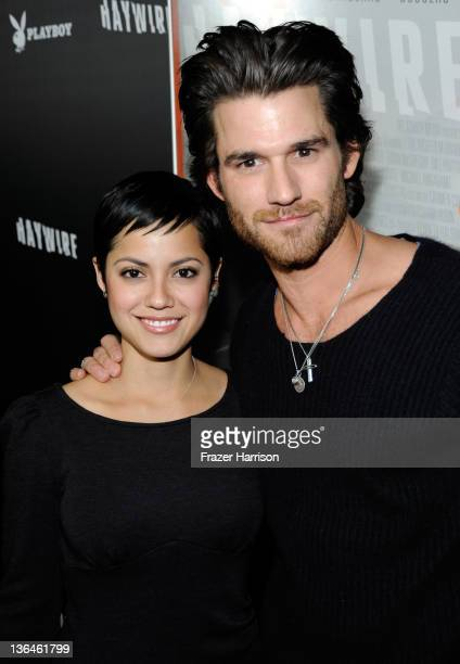 Actors Sylvia Brindis and Johnny Whitworth arrive at Relativity Media's premiere of 'Haywire' cohosted by Playboy held at DGA Theater on January 5...
