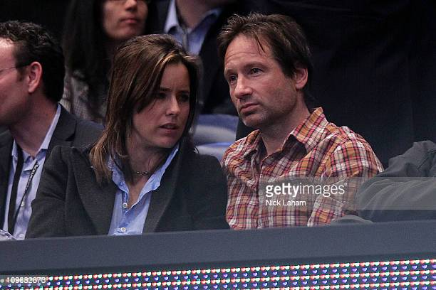 Actors Téa Leoni and David Duchovny attend the BNP Paribas Showdown at Madison Square Garden on February 28 2011 in New York City