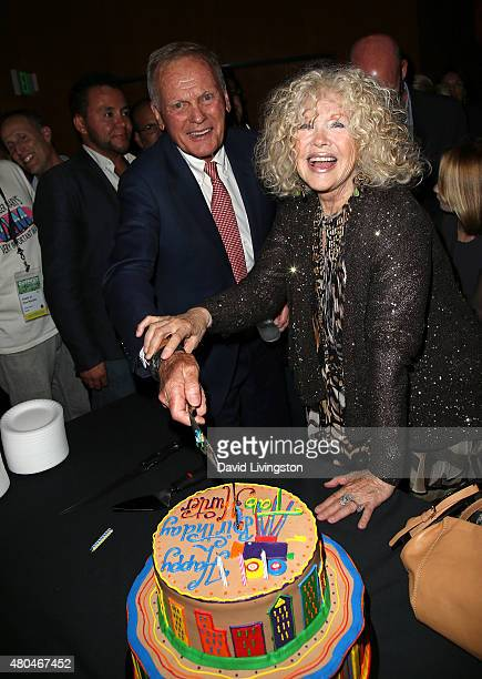 Actors Tab Hunter and Connie Stevens celebrate Hunter's 84th birthday following a screening of Tab Hunter Confidential at the 2015 Outfest's LGBT Los...