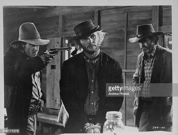 Actors Tab Hunter and Paul Newman in a scene from the movie 'The Life and Times of Judge Roy Bean' 1972
