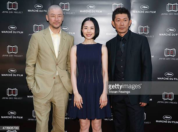 Actors Tadanobu Asano Eri Fukatsu and Masatoshi Nagase attend the Japan Day Project Party during the 68th annual Cannes Film Festival on May 18 2015...