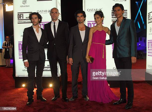 Actors Tahar Rahim Mark Strong Akin Gazi Freida Pinto and Jan Uddin arrive at Black Gold world premiere during Doha Tribeca Film Festival Opening...