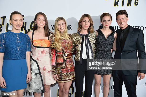 Actors Taissa Farmiga Katie Chang Claire Julien director Sofia Coppola actors Emma Watson and Israel Broussard arrive to the Los Angeles premiere of...
