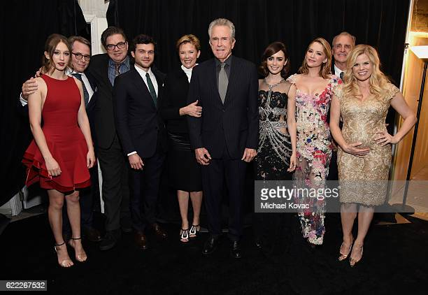 Actors Taissa Farmiga Matthew Broderick Oliver Platt Alden Ehrenreich Annette Bening Warren Beatty Lily Collins Haley Bennett and Megan Hilty attend...