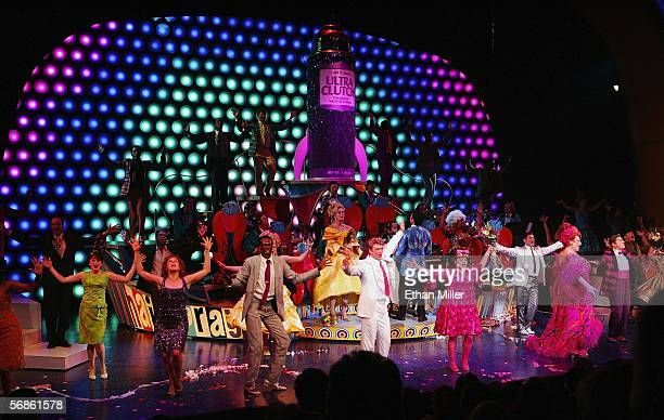 Actors take a curtain call at the opening night performance of the Broadway musical Hairspray at the Luxor Hotel Casino February 15 2006 in Las Vegas...