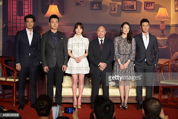 Actors Takeshi Kaneshiro Tong Dawei Song Hye Kyo director John Woo Actress Zhang Ziyi and actor Huang Xiaoming attend press conference for movie The...
