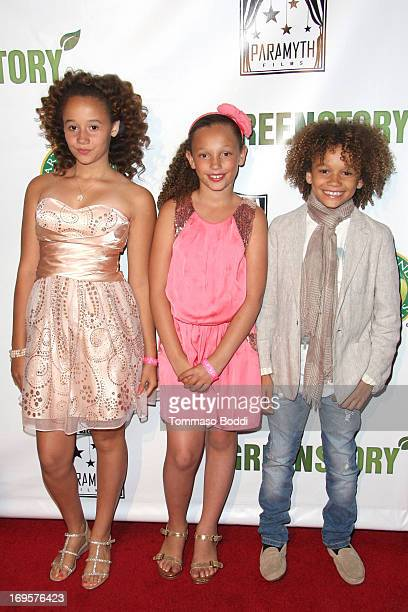 Actors Talia Jackson Alexsia Hanks and Armani Jackson attend the Gabby Awards weekend welcome party for theatrical release of A Green Story held at...