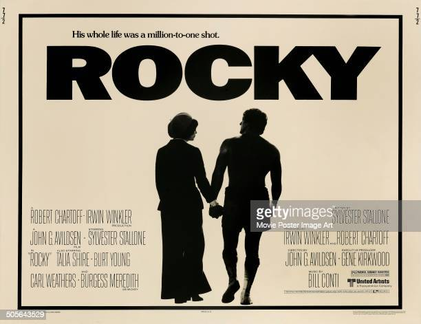 Actors Talia Shire and Sylvester Stallone feature on a poster for the United Artists boxing movie 'Rocky' 1976