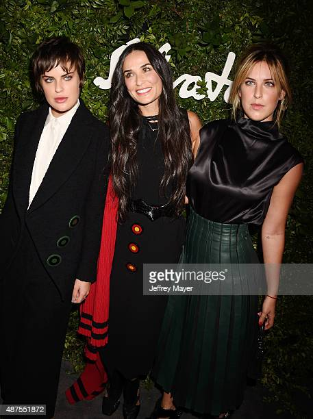 Actors Tallulah Willis Demi Moore and Scout Willis arrive at the Salvatore Ferragamo 100 Years In Hollywood celebration at the newly unveiled Rodeo...