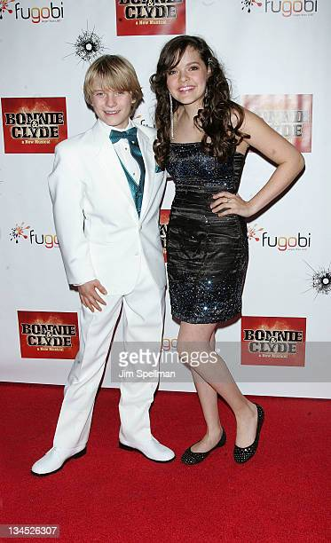 Actors Talon Ackerman and Kelsey Fowler attends the after party for the Broadway opening night of Bonnie Clyde at The Edison Ballroom on December 1...