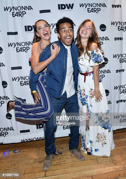 Actors Tamara Duarte Varun Saranga and Dominique ProvostChalkley at the Wynonna Earp Media Mixer with cast and Fan Appreciation Party during ComicCon...