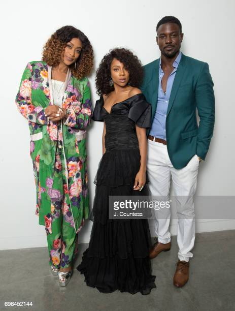 Actors Tami Roman Lil Mama and Lance Gross pose for a portrait at the New World Center on Day 1 of the American Black Film Festival on June 15 2017...