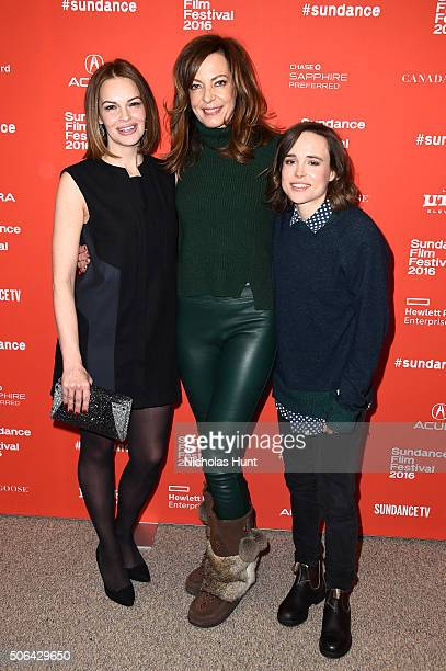Actors Tammy Blanchard Allison Janney and Ellen Page attends the 'Tallulah' Premiere during the 2016 Sundance Film Festival at Eccles Center Theatre...