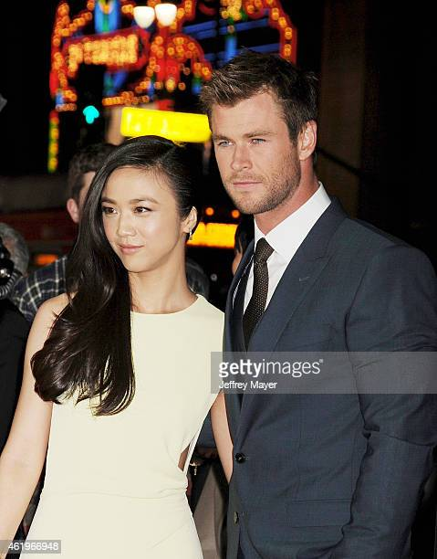 Actors Tang Wei and Chris Hemsworth attend the 'Black Hat' Los Angeles premiere held at the TCL Chinese Theatre IMAX on January 8 2015 in Hollywood...