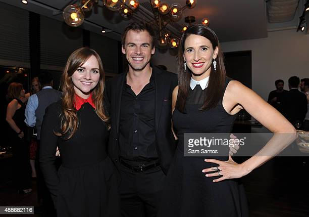 Actors Tara Lynne Barr Tommy Dewey and Michaela Watkins attend the 'Casual' party during the Toronto International Film Festival at TIFF Bell...