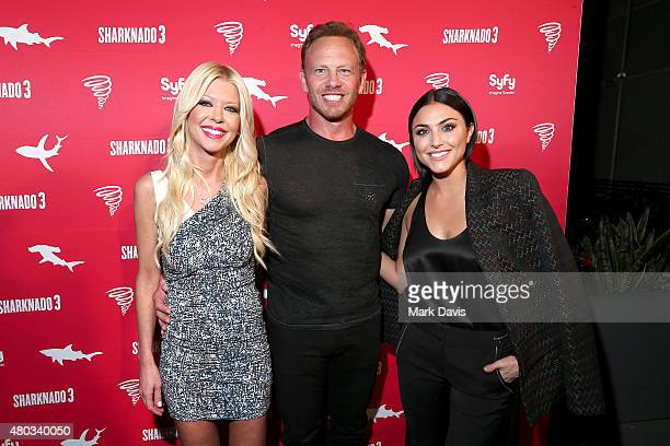 Actors Tara Reid Ian Ziering and Cassie Scerbo attend the Sharknado 3 Party during ComicCon International 2015 at Hotel Solamar on July 10 2015 in...