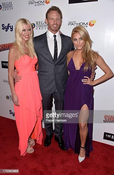 "Actors Tara Reid, Ian Ziering, Cassie Scerbo arrive at Fathom Events Presents The Premiere Of The Asylum And Syfy's ""Sharknado"" at Regal Cinemas L.A...."