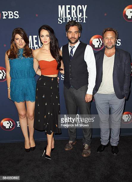 Actors Tara Summers Hannah James Josh Radnor and Norbert Leo Butz attend the 'Mercy Street Season 2' panel discussion at the PBS portion of the 2016...