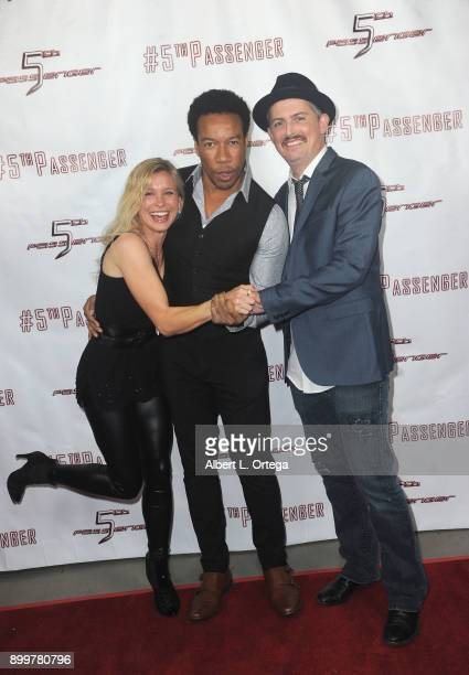 Actors Tarah Paige Rico E Anderson and Manu Intiraymi arrive for the cast and crew screening of 5th Passenger held at TCL Chinese 6 Theatres on...
