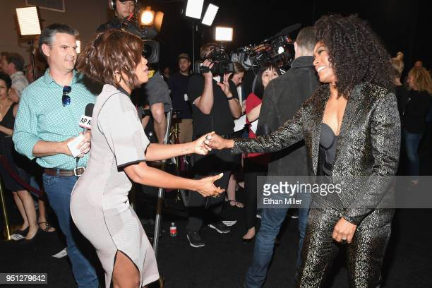 Actors Taraji P Henson and Angela Bassett attend the CinemaCon 2018 Paramount Pictures Presentation Highlighting Its Summer of 2018 and Beyond at The...