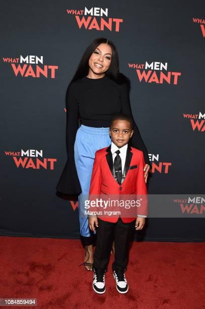 Actors Taraji P Henson and Auston Jon Moore attend a special screening of 'What Men Want' at Regal Atlantic Station on January 18 2019 in Atlanta...