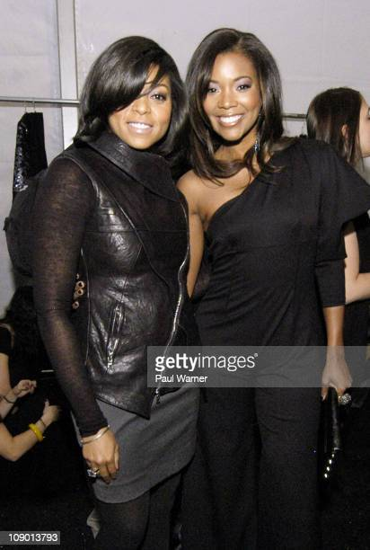 Actors Taraji P Henson and Gabrielle Union attend the Nicole Miller Fall 2011 fashion show during MercedesBenz Fashion Week at The Studio at Lincoln...