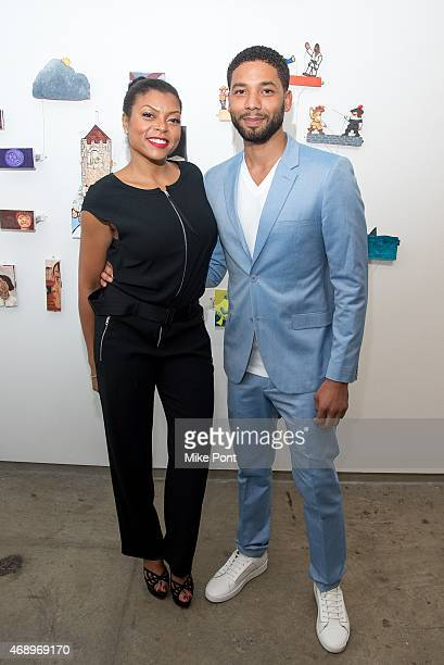 Actors Taraji P Henson and Jussie Smollett attend the Summer Sizzle BVI 2015 Launch Party at Ricco Maresca Gallery on April 8 2015 in New York City