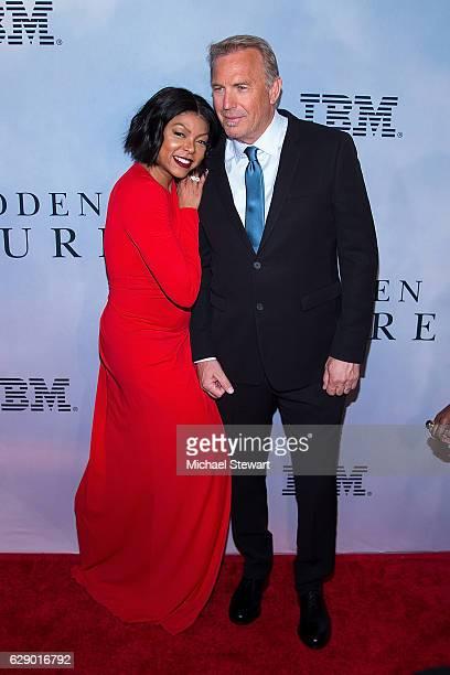 "Actors Taraji P. Henson and Kevin Costner attend the ""Hidden Figures"" New York special screening on December 10, 2016 in New York City."