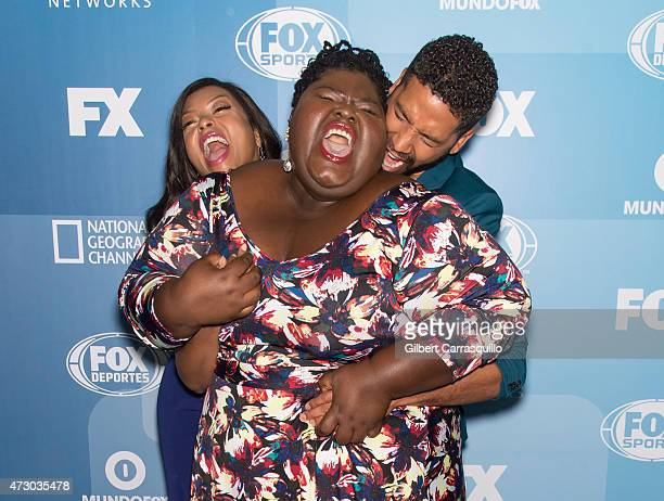 Actors Taraji P Henson Gabourey Sidibe and Jussie Smollett attend the 2015 FOX Programming Presentation at Wollman Rink Central Park on May 11 2015...
