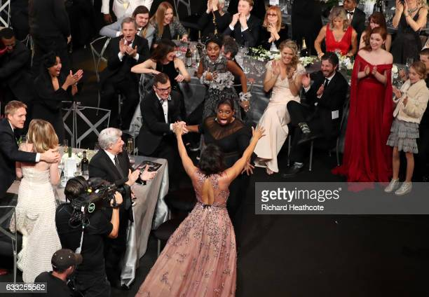 Actors Taraji P Henson Octavia Spencer and Janelle Monae react to winning an award during The 23rd Annual Screen Actors Guild Awards at The Shrine...