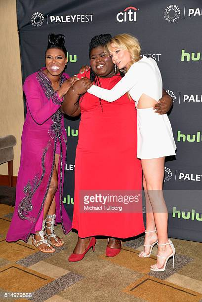 Actors Ta'Rhonda Jones Gabourey Sidibe and Kaitlin Doubleday attend a screening and QA for the TV show Empire at The Paley Center for Media's 33rd...