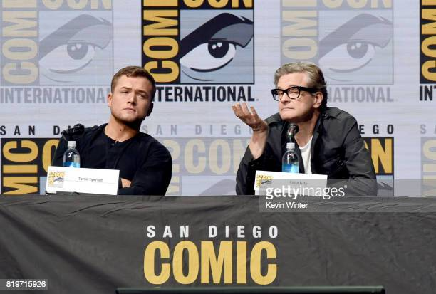 Actors Taron Egerton and Colin Firth speak onstage at the 20th Century FOX panel during ComicCon International 2017 at San Diego Convention Center on...