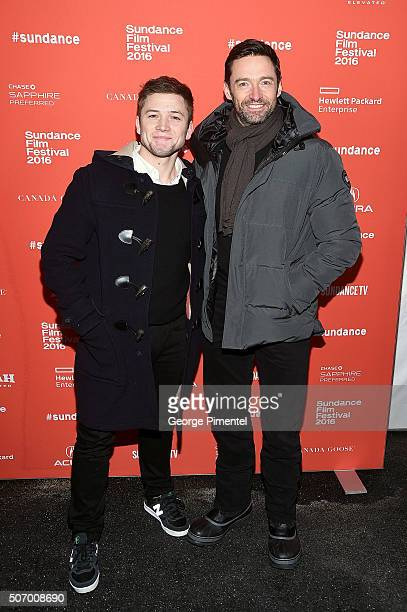 Actors Taron Egerton and Hugh Jackman attend the Community/Townie Tuesday at Library Center Theater on January 26 2016 in Park City Utah